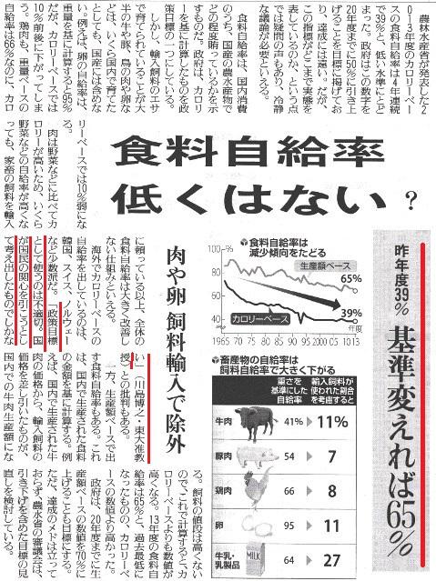 自給率 新聞報道