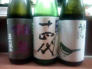 鍋島生酒、十四代吟醸、庭の