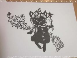切り絵 猫の妖精さん
