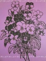 切り絵  菫の花束