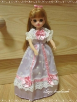 リカちゃん ピンクパープルのリボンドレス