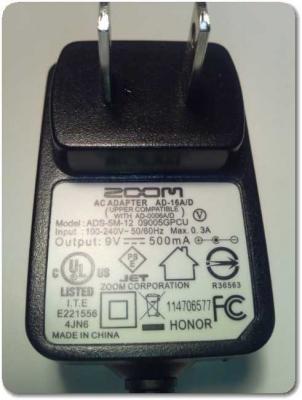 ZOOM電源アダプター500mA