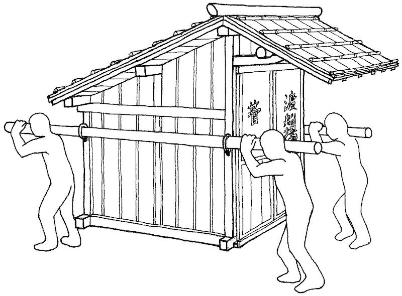 小屋を移動させる様子