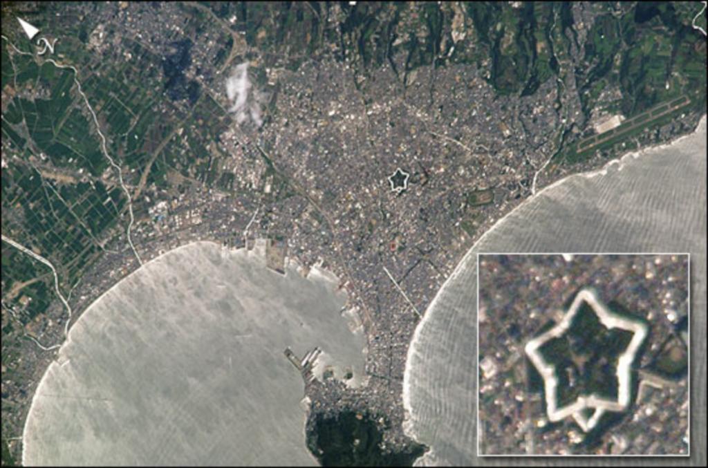 五稜郭付近の衛星写真(NASAによる資料)