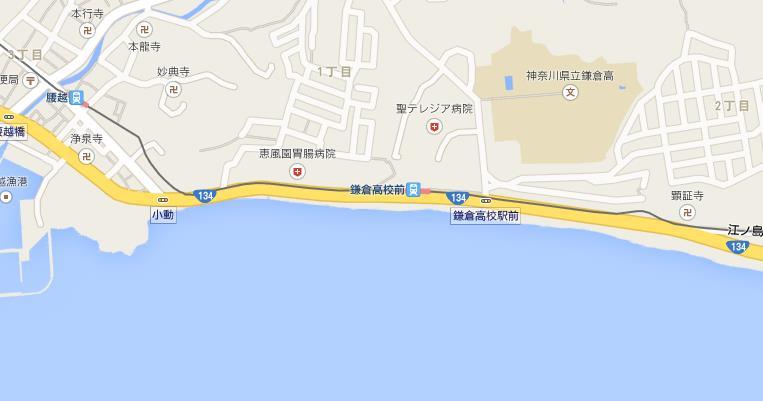 鎌倉高校前駅付近の地図