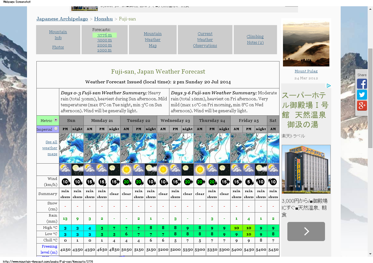 Fuji-san Weather Forecast 7末スクリーンショット