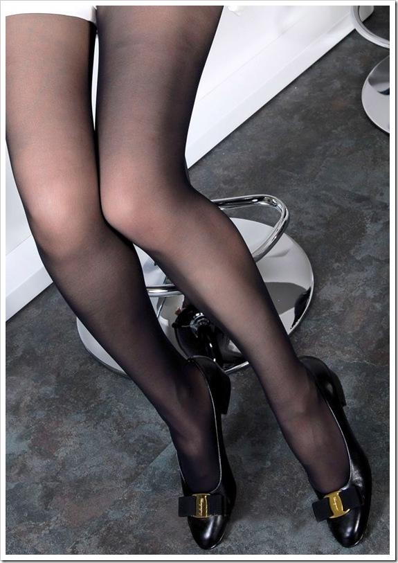 【黒パンスト】美脚フェチ下着からマン毛