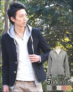 テーラードジャケット×パーカー