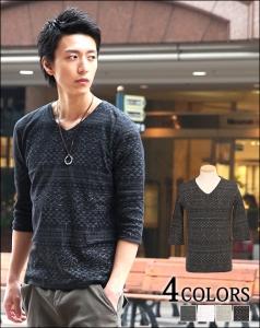ジャガード柄Tシャツ ブラック