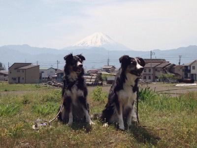 富士山をバックに2ショット