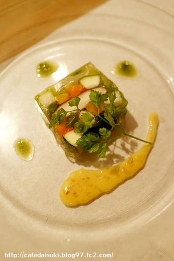 食の円居 なず菜◇夏野菜のテリーヌ 胡麻味噌ソース