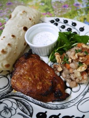 タンドリーチキン&白インゲン豆のサラダ