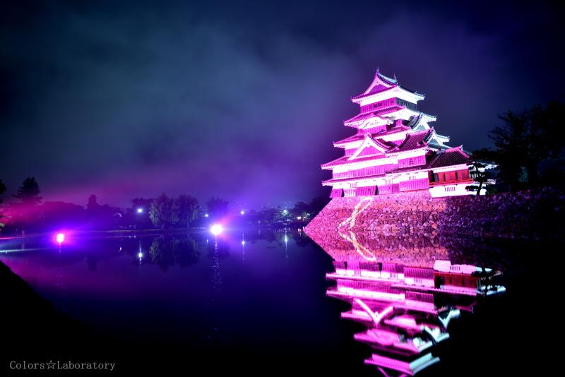 松本城 ピンクライトアップ 2
