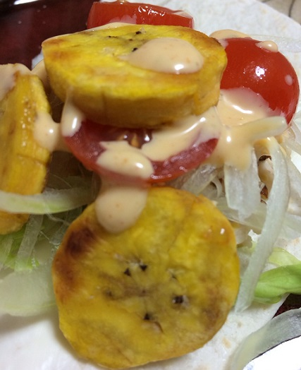 Fried plantain with Taco dressing