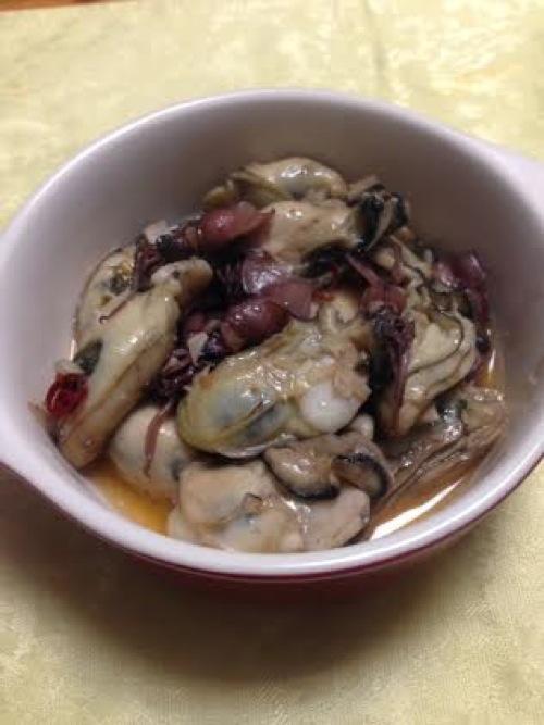 1牡蠣のアヒージョ