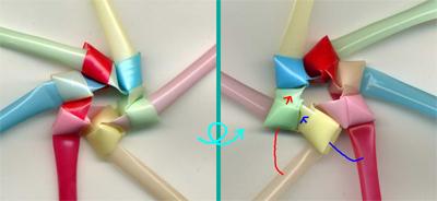 三角玉で輪 作り方2