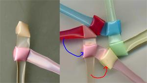 三角玉で輪 作り方1