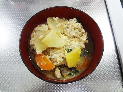 野菜スープの雑炊