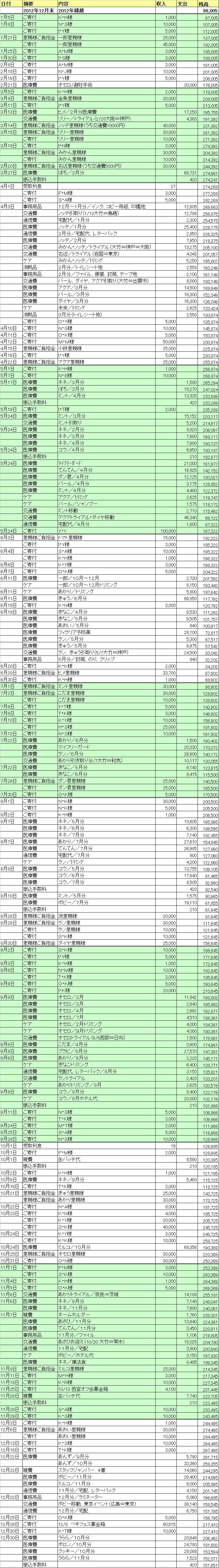 2013年収支報告