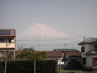 霞む富士山