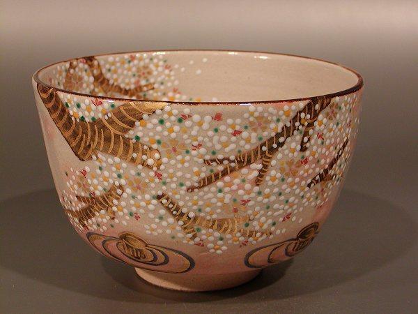 茶碗 乾山写 桜、 鈴木一点作