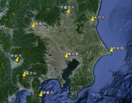 東京駅から100kmの範囲