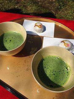 梅林公園 梅まつり 抹茶と手づくりまんじゅう「想ひのまま」