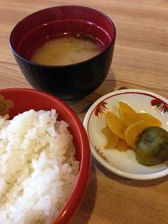 石亭 巳之助 白米 味噌汁 漬物