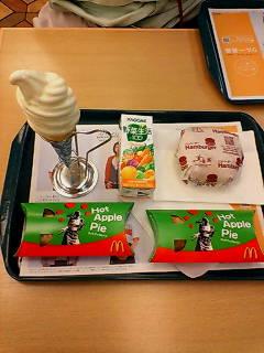 ハンバーガーアップルパイソフトツイスト&健康生活(ラーメンの後に)