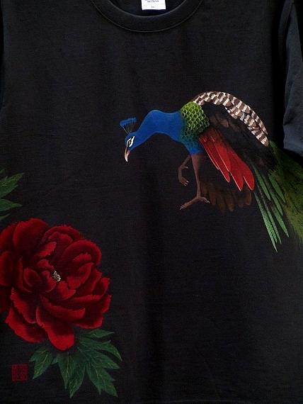 孔雀 手描きTシャツ