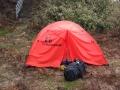 カーブに張ったテント