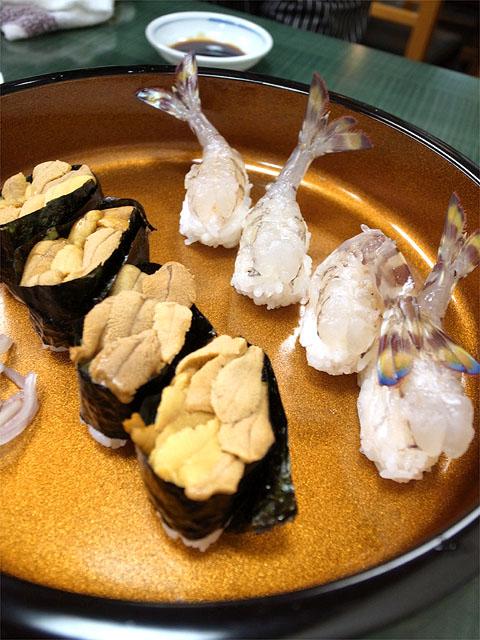 140426蛇の目寿司-雲丹と海老