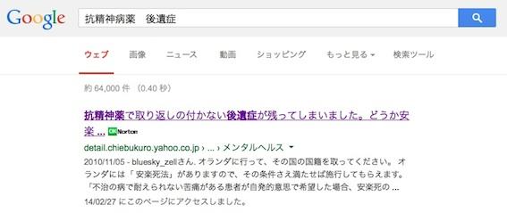 Google検索 抗精神病薬 後遺症