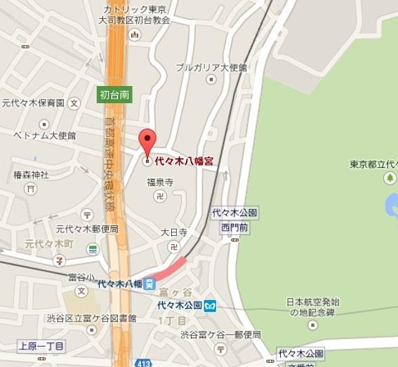 代々木八幡宮地図