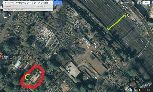 500墓地の大きさ線路と比較