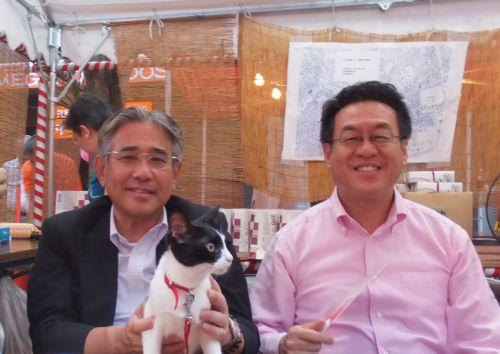 青木目黒区長(右) 都議会議員鈴木先生