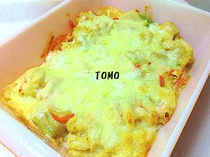 春きゃべつと高野豆腐のマカロニグラタン