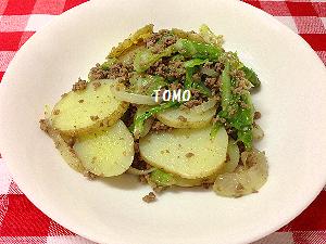 キャベツとジャガイモのひき肉炒め
