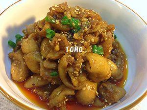 甘辛ガーリックの鶏皮のコチジャン炒め