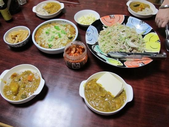 野菜と豚肉のカレー、大根オニオンオイルサーディンのサラダ
