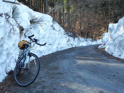 林道の残雪