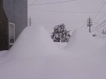 H26大雪国埋もれた車2台