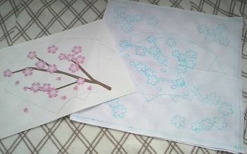20140326花ふきん「桜に扇」下書き
