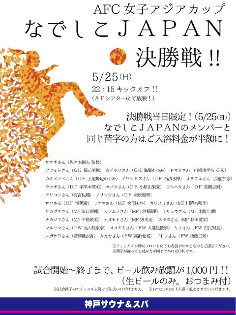 なでしこJAPAN決勝戦!!