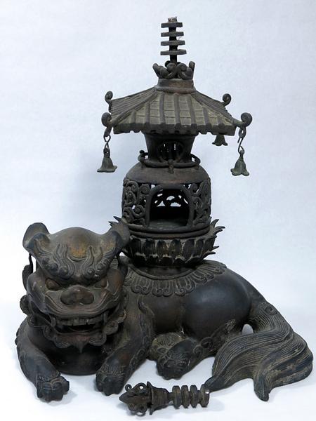 古銅 獅子 灯籠 香炉