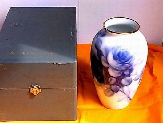 大倉陶園OKURA ブルーローズ花瓶 専用ケース入