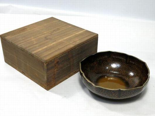 金谷五郎三郎 黄銅槌目 菓子器