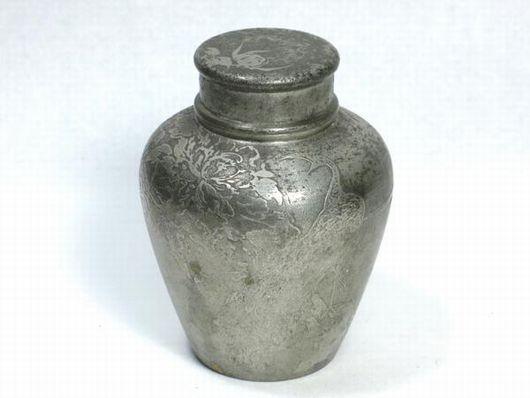 薩摩錫朝日堂造 茶入 煎茶道具