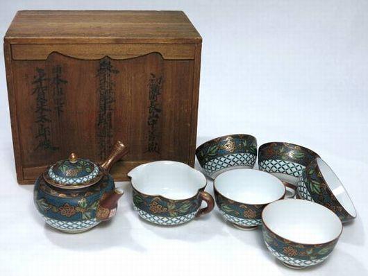 九谷焼 青粒 煎茶道具