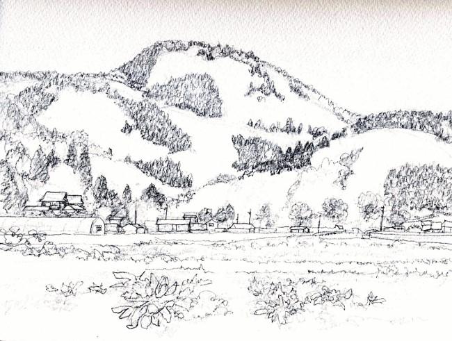 春の山猪名川 デッサン (650x491)